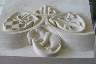 Décor sculpté pour un linteau de cheminée.